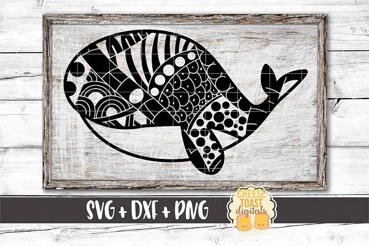 Whale - Zen Doodle Mandala Design - SVG PNG DXF Cut Files