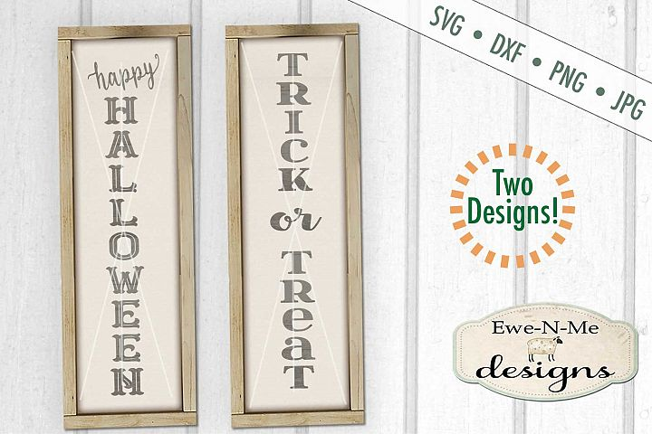 Happy Halloween Trick Treat Vertical Porch Sign SVG DXF File
