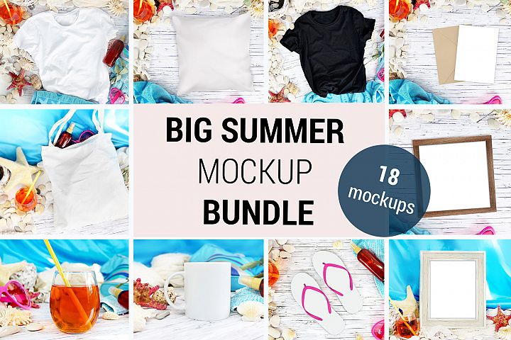 Big Summer Mockup BUNDLE - 18 mockups of mugs, tshirts, 948