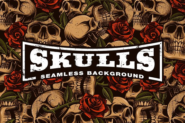 Skulls and Roses Seamless Background