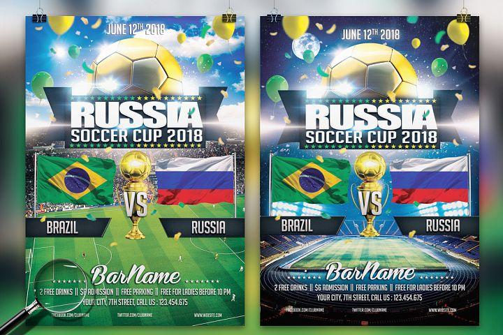Soccer Russia World Cup 2018   2in1 Flyer Template