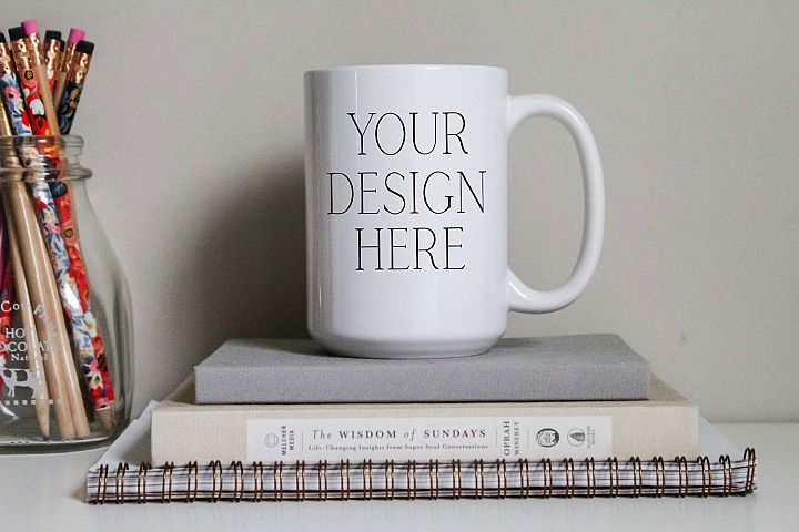 Stacked Books 15 Ounce Mug Mockup