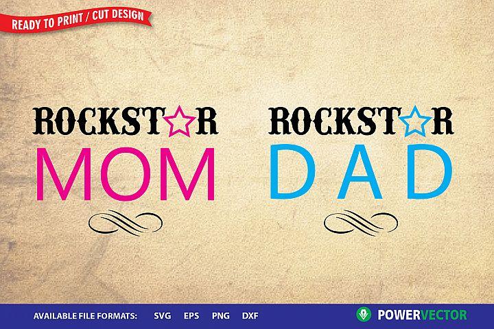 Rockstar Mom, Rockstar Dad SVG  Rockstart Couple Design
