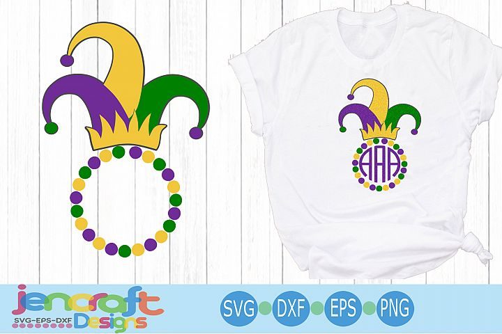 Jester Hat Monogram Frame SVG Mardi Gras SVG