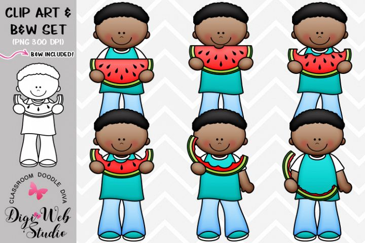 Clip Art / Illustrations - Josiah Eats Watermelon