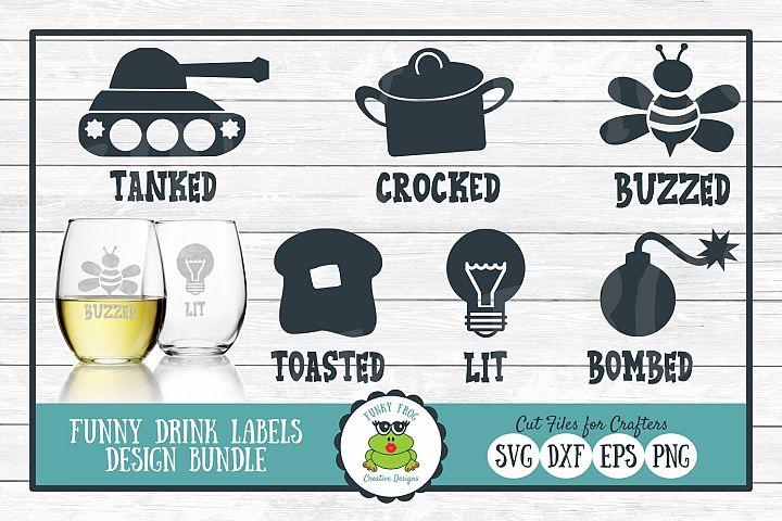 Funny Drink Labels Design Bundle - SVG Cut Files for Crafter