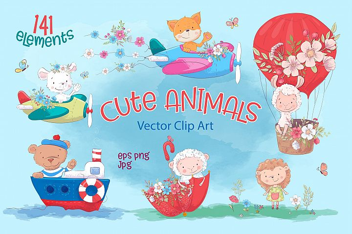 Cute animals vector clip art