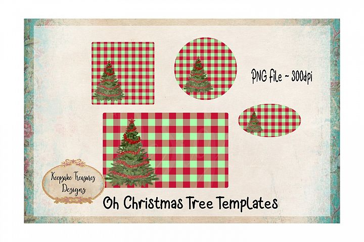 Red and Green Checker Christmas Tree Sublimation Template