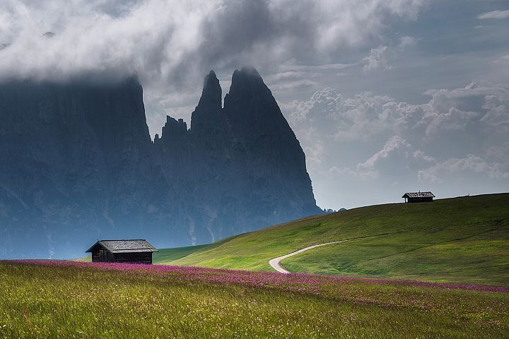 Cottages and scenery at Seiser Alm