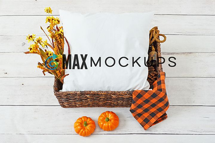 Pillow Mockup, Fall, Halloween pumpkins, flatlay photography
