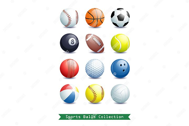 Big Collection of different 3d Sports Balls.
