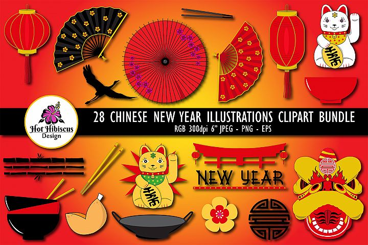 Chinese New Year Graphic Illustration Clipart Bundle