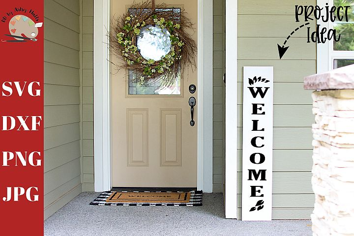 Welcome Leaves Front Porch Wood Sign svg, home decor svg