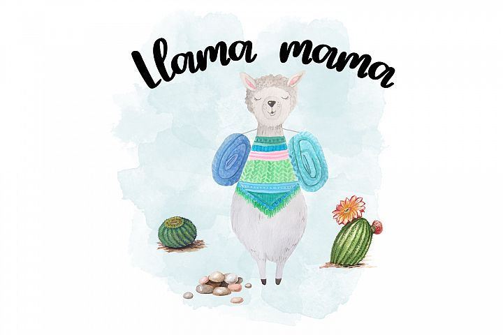 Watercolor Llama Illustration