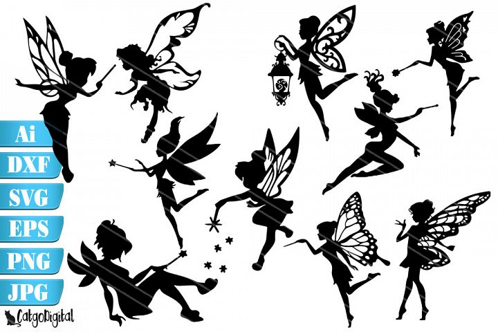 Fairy Silhouettes Fairy SVG PNG EPS JPEG DXF AI