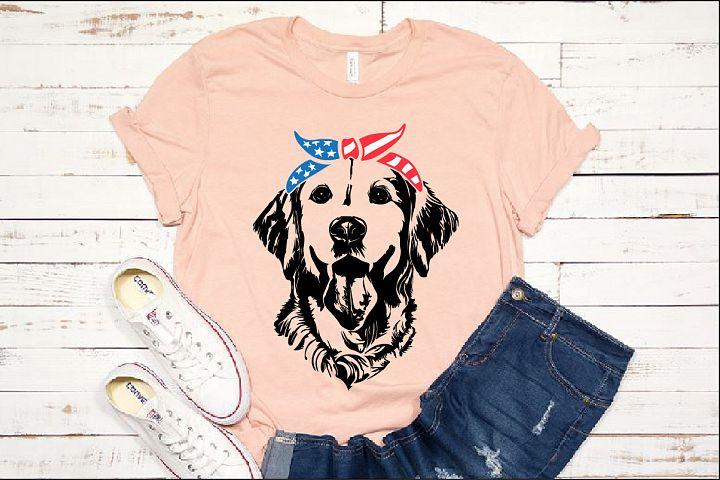 Lab SVG Labrador USA Bandana Head Dog 4th July Breed 1375s