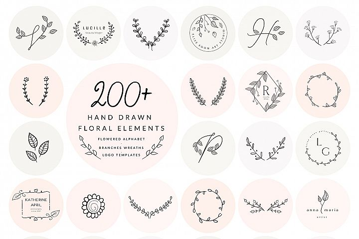 200 Floral ElementsEPS,SVG,PSD,PNG