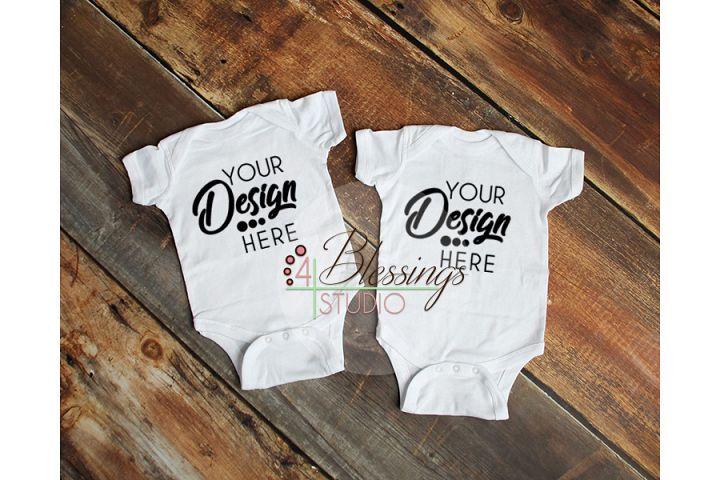 Two Blank White Baby Bodysuits Shirt Mockup Twin Mock up