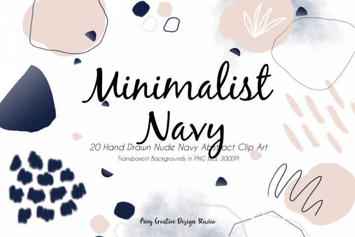 20 Hand Drawn Minimalist Navy Abstract Clip Art Bundle