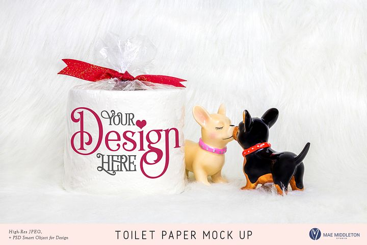Toilet Paper Mock up for Valentines day, Lovers stock photo