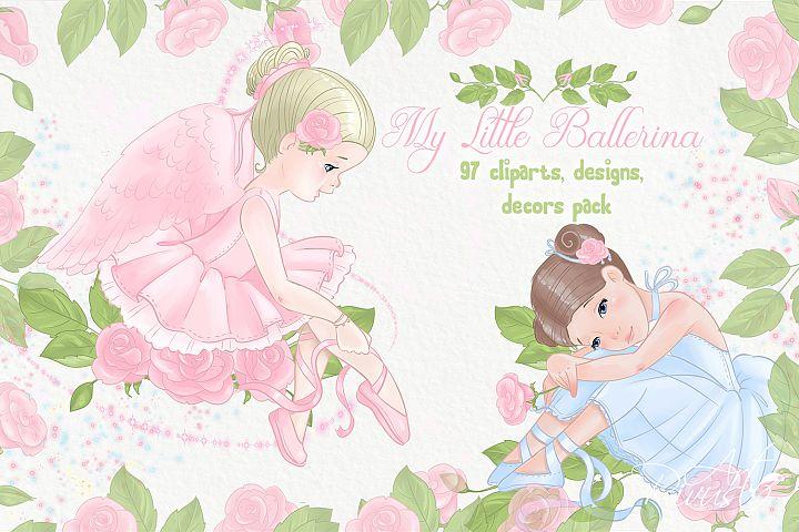 Ballet PNG clipart bundle download. Ballerinas girl birthday