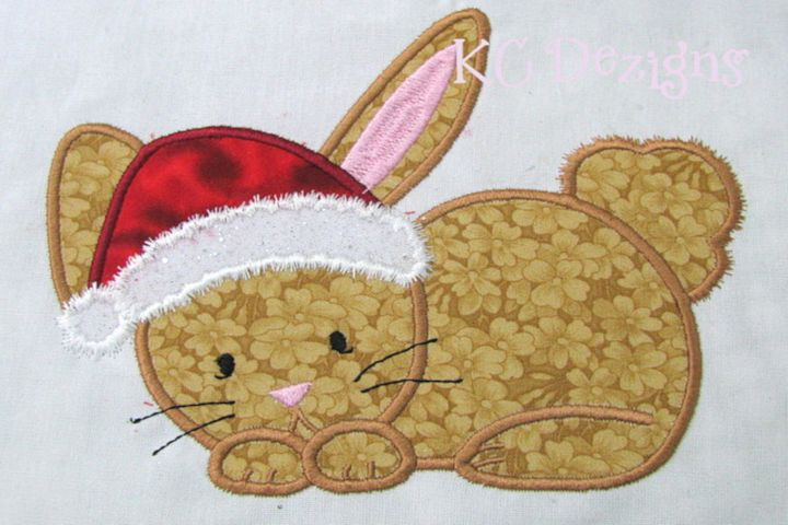 Christmas Bunny Machine Applique Embroidery Design