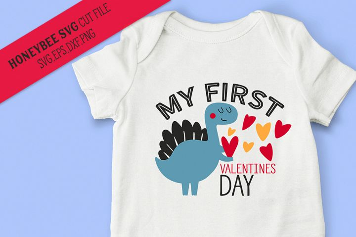 My First Valentines Day Dino SVG Cut File