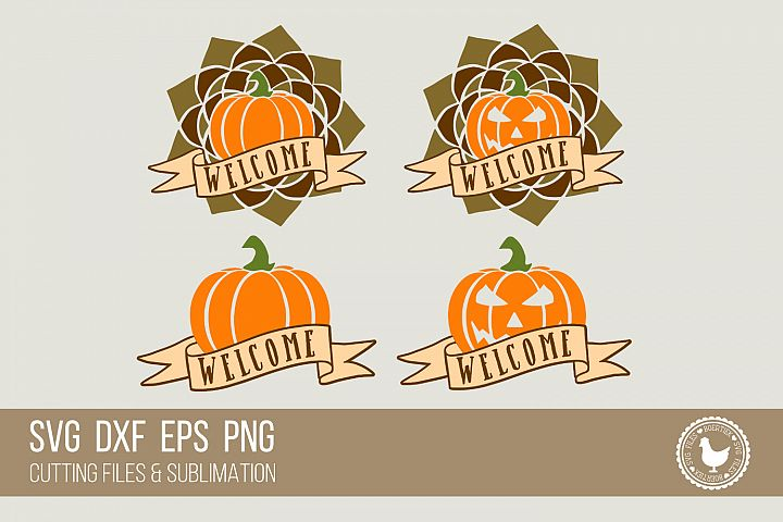 Pumpkin with welcome banner, 4 variants, fall, halloween
