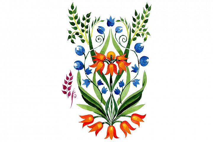 Floral ornament traditional watercolor png