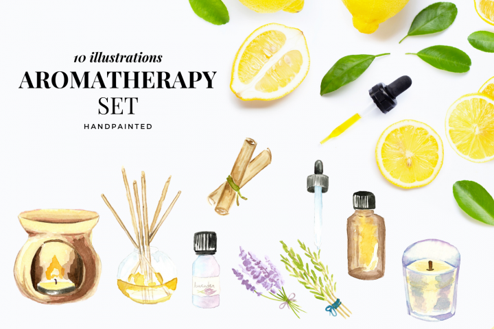 Spa watercolor clipart, Me Time clipart, Reed Diffuser