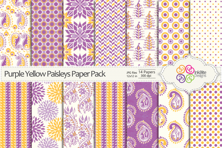 Purple & Yellow Paisleys Paper Pack