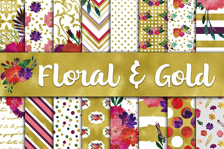 Floral and Gold Digital Papers