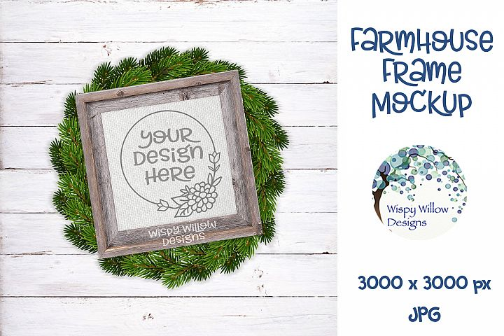 Square Farmhouse and Wreath Photo Frame Mockup