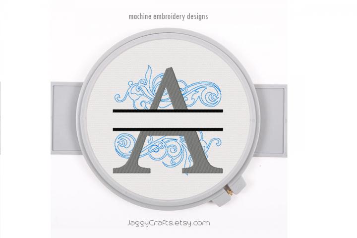 Embroidery Fonts Split Monogram A, Monogram Fonts Design
