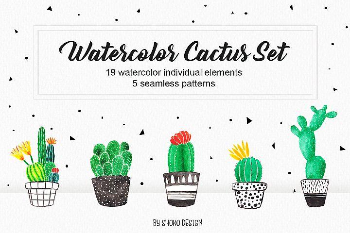 Watercolor Cactus Succulents scandinavian set handpainted