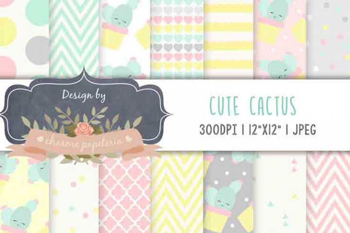 Cute Cactus Digital Paper Cactus Background candy colors