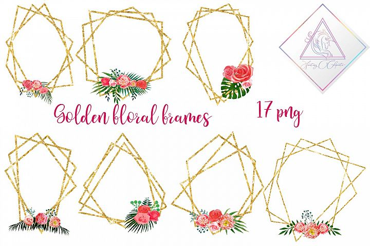 Floral Polygonal Frames Clipart