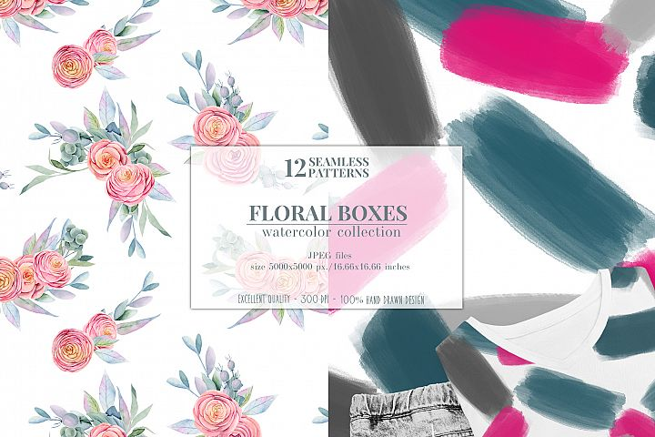 12 seamless patterns, Floral boxes watercolor col. example image 6