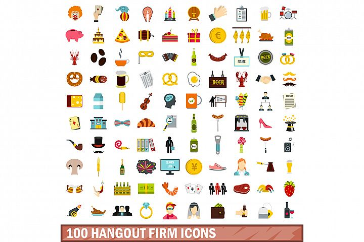 100 hangout firm icons set, flat style