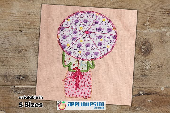Girl with Umbrella Machine Embroidery Applique Design- Girls