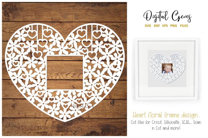 Floral heart paper cut design. SVG / DXF / EPS / PNG