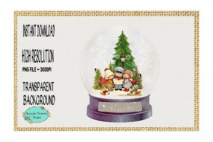 Vintage Carolers, Snowglobe Ornament Template