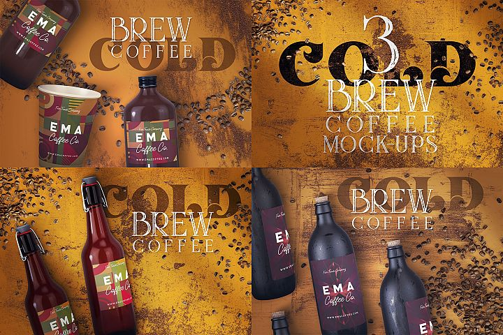 3 cold brew coffee bottles mock-ups