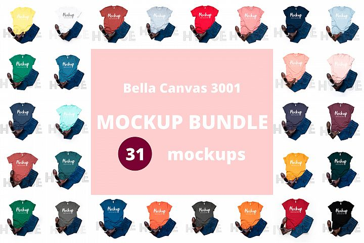 Tshirt Mockup Bundle Bella Canvas 3001, Basic tshirt mockups