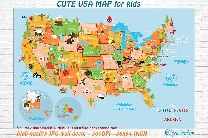 Cute Printable USA MAP for kids - gender neutral room decor