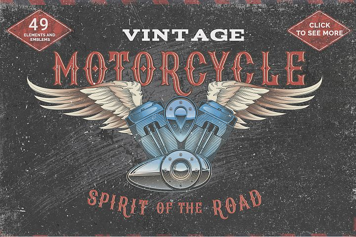 Vintage motorcycle, skulls and labels