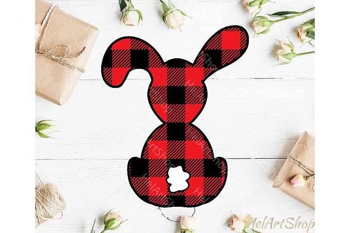 Buffalo Plaid Bunny svg, Easter Bunny svg, Easter rabbit svg