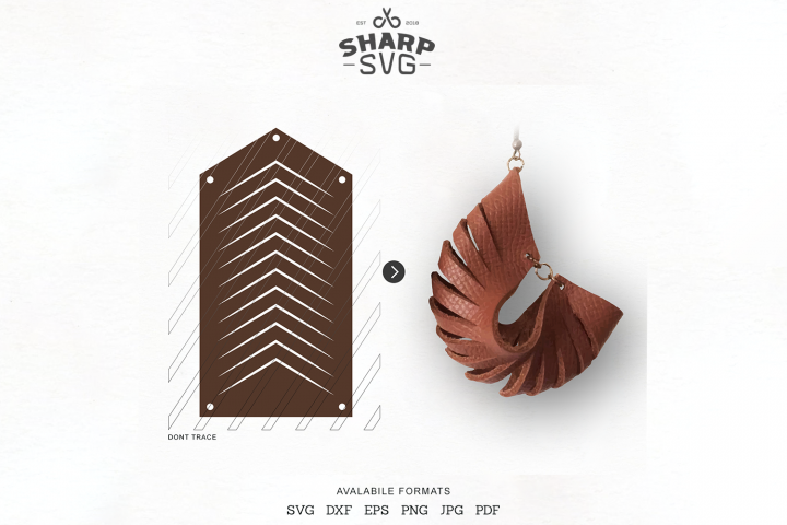 Sculpted Earring SVG - Leather Twisted Earrings Cut Template