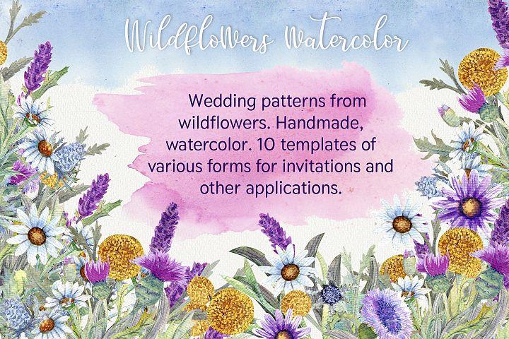 Wedding templates from wildflowers. Handmade, watercolor.