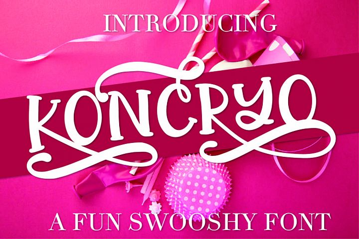 Koncryo - A Fun Swoosh Font With Alternatives